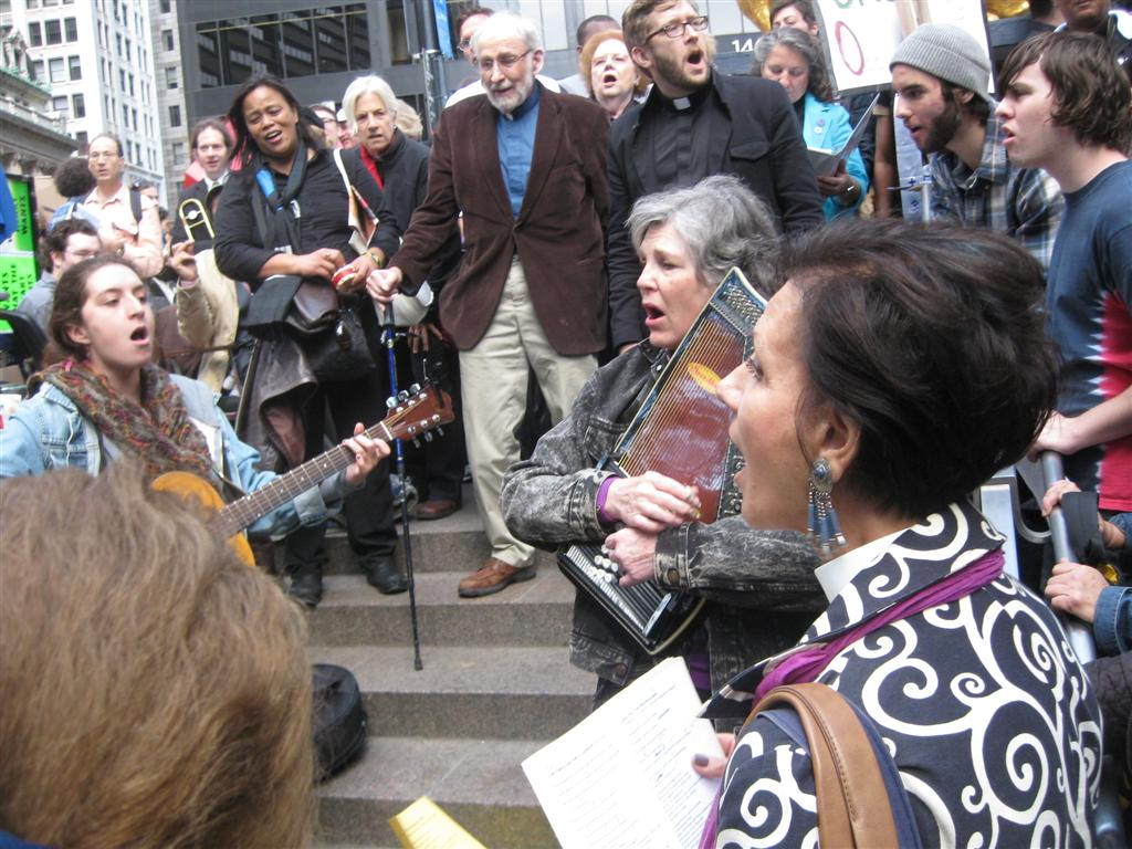 A contingent from Second Presbyterian Church led the singing of songs of liberation from the Civil Rights and Labor movements at Occupy Wall Street.