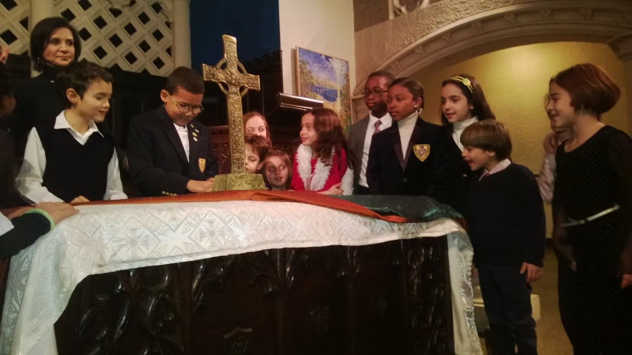 children at church alter